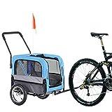 Aosom 2-in-1 3 Wheel Pet Jogging Stroller Bike Trailer - Blue/Grey