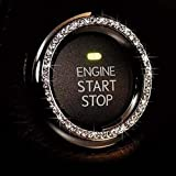 Bling Car Decor Crystal Rhinestone Car Bling Ring Emblem Sticker, Bling Car Accessories for Auto Start Engine Ignition Button Key & Knobs, Bling for Car Interior, Unique Gift for Women (Silver)