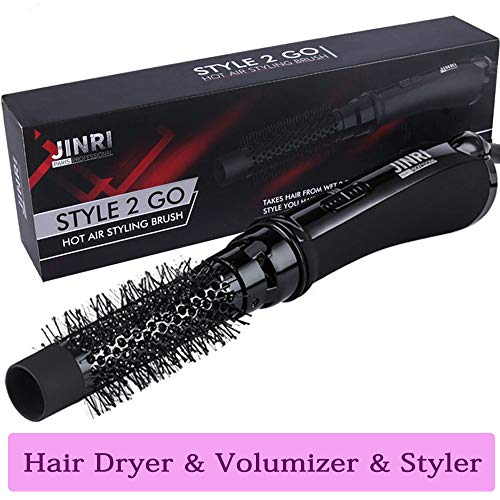 One-Step Hot Air Brush, 2 in 1 Hair Dryer & Volumizer, Professional Salon Negative Hair Styler, Ceramic Lightweight Styling Brush for Volume, Straight Hair and Soft Curls, ETL Certified, Black