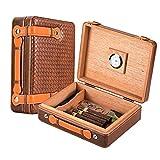 Scotte Portable Cigar humidors Wood & Leather Handheld Cigar humidors Travel Cigar Box