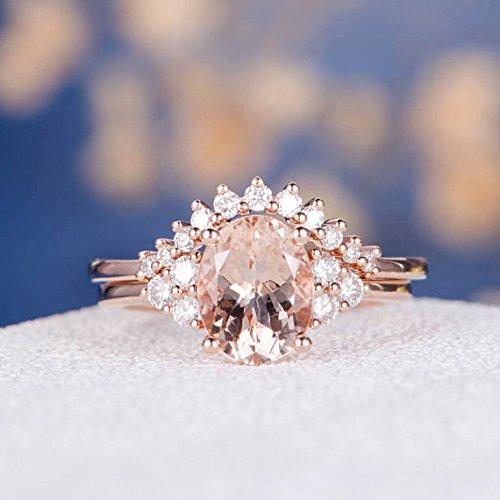 Unique Morganite Engagement Ring Set Oval Cut Cluster Rose Gold