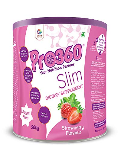 Pro360 Slim Nutritional Protein Drink(Strawberry Flavour) Sugar-Free,Weight Loss Dietary Supplement for Men & Women, 500 Gm