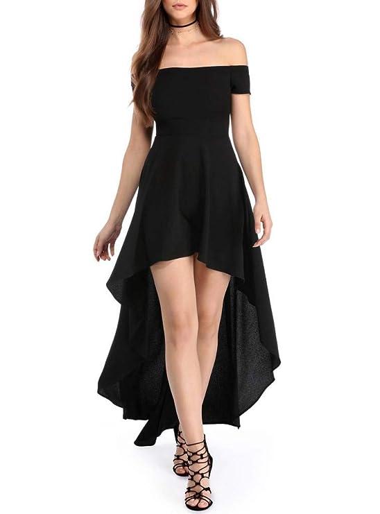 Vestido elegante negro falda larga hombros descubiertos para mujerhttps://amzn.to/2ry10zv