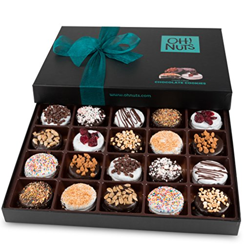 Oh! Nuts Chocolate Covered Cookie Gift Baskets, 20 Variety Gourmet Assortment Set Holiday Food Sandwich Cookies, Prime Christmas Elegant Box Gifts, Thanksgiving Valentines Fathers & Mothers Day Basket