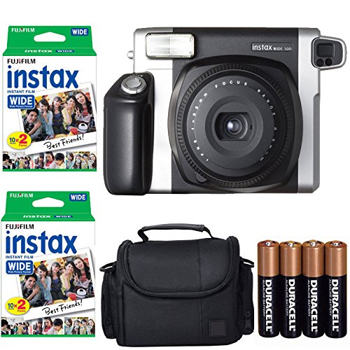 Fujifilm INSTAX 210 Photo Instant Camera With Fujifilm Instax Wide Instant Film Twin Pack Instant Film (40 Shots) + Camera Case With Photo4less Microfiber Cleaning Cloth Top Bundle – International Version (No Warranty)