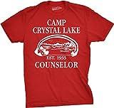 Mens Camp Crystal Lake T Shirt Funny Shirts Camping Vintage Horror Novelty Tees (Red) - L