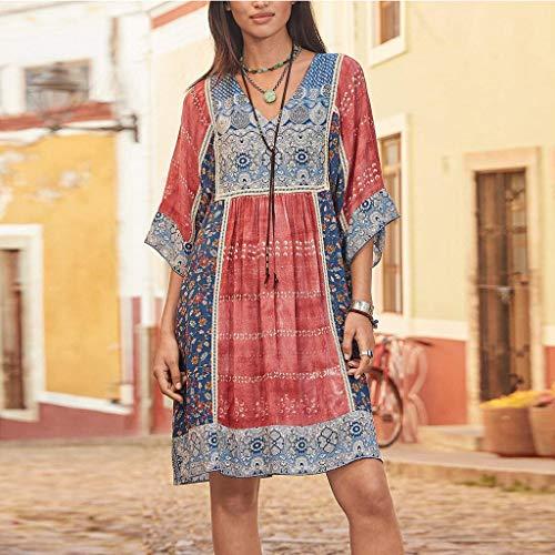 Hattfart Women Long Sleeve Loose Maxi Dress Fashion Bohemian Party Print V Neck Plus Size Casual Mini Dress Red