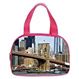 iPrint Strong Durability Small Handbag Pink,Urban,Skyline of Brooklyn New York USA Cityscape Bridge Buildings and River Coastal Scenery,Multicolor,for Students,3D Print Design.6.3'x9.4'x1.6'
