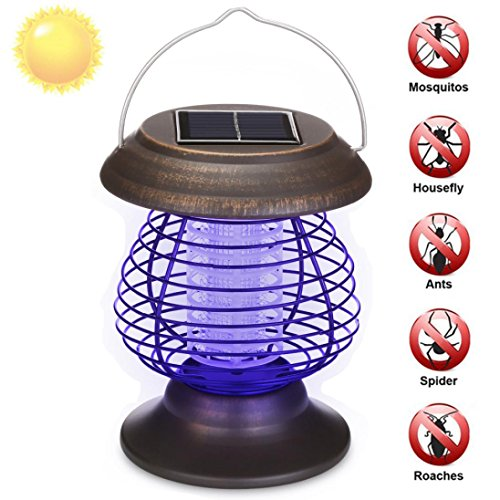 Exteren Solar Powered Portable Electric Mosquito Lamp Mosquito Killer Lamps Solar Bug Zapper Waterproof Outdoor For Camping Traveling Mosquito Repeller (Brown)