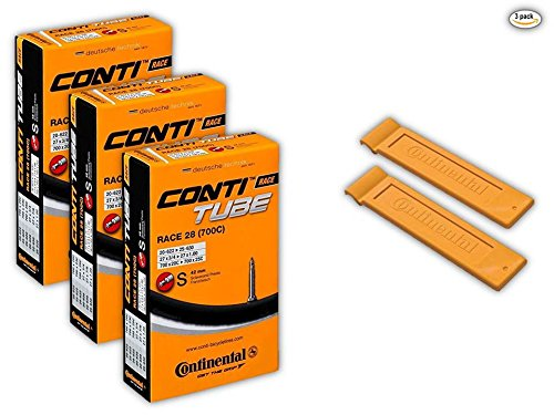 Continental Race 28' 700x20-25c Bicycle Inner Tubes - 42mm Long Presta Valve (Pack of 3 w/ 2 Conti Tire Levers)