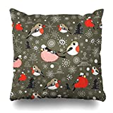Hitime Throw Pillow Cover Brown Pattern New Birds Wildlife Christmas Bullfinch Red Trees Winter Berries Bright Happiness Decorative Pillowcase Square Size 18 x 18 Inches Home Cushion Cases