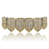 JINAO 18K Gold Plated Macro Pave CZ Iced-Out Grillz with Extra Molding Bars Included (Gold bottonm)