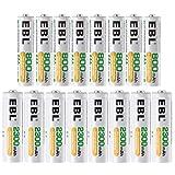 EBL 16 Sets AA AAA Batteries Combo with 8PCS AA 2300mAh & 8-Pack AAA 800mAh Rechargeable Batteries