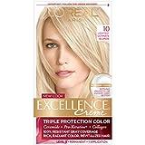 L'Oréal Paris Excellence Créme Permanent Hair Color, 10 Lightest Ultimate Blonde, 1 kit 100% Gray Coverage Hair Dye