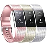 honecumi Bands Replacment for Fit bit Charge 2 Watch Band Strap Wristband Bracelet Accessory for Men Women-Colorful Pattern Rose Gold Silver Champagne Gold Women Small Men Large Charge 2 Watch Bands