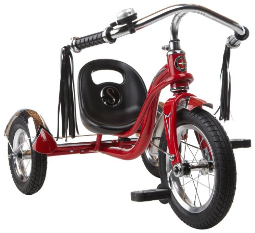 Schwinn Roadster Tricycle with Classic Bicycle Bell and Handlebar Tassels, Featuring Retro Steel Frame and Adjustable Seat, for Children and Kids Ages 2-4 Years Old, Red