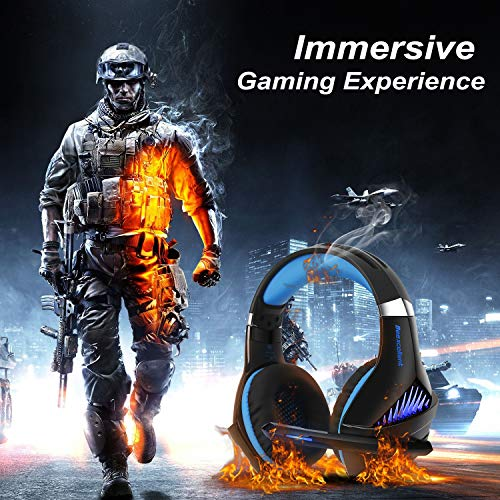 Gaming Headset,OfficeLead Stereo Headphones for Laptop,Tablet,PS4, PC, Xbox One Controller, Noise Cancelling Over Ear Headset with Mic, LED Light, Bass Surround