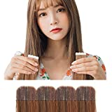 Tape in Hair Extensions 20' 20pcs 1.76oz Premium Quality New Silky Straight Protein Fiber Hair Seamless Tape Hair Extensions for Thin Hair (#40 Orange Brown)