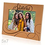 Kate Posh - Sisters Picture Frame - Engraved Natural Wood Photo Frame - Big Sister, Little Sister, Maid of Honor, Matron of Honor Wedding Gifts, Birthday Gifts (5x7-Horizontal)