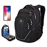 TSA Friendly, Swissdigital Water-Resistant Large Backpack, Business Laptop Backpack for Men with USB Charging Port/RFID Protection Big School Bookbag Fits 15.6 in Travel Laptop Backpack [Black] (A)
