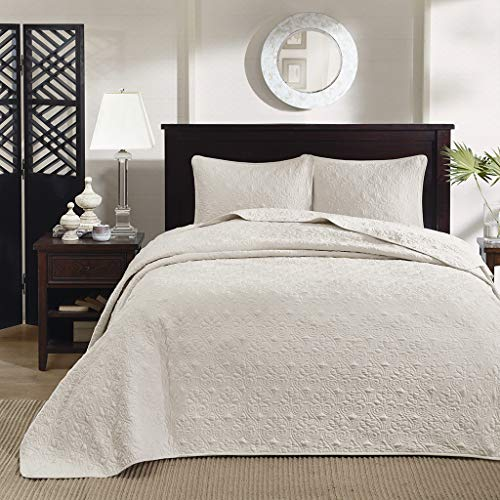 Madison Park Quebec King Size Quilt Bedding Set - Ivory , Damask – 3 Piece Bedding Quilt Coverlets – Ultra Soft Microfiber Bed Quilts Quilted Coverlet