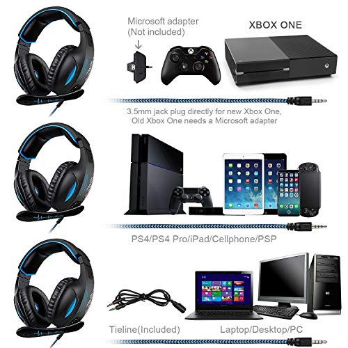 51nfKMoxjNL - SADES SA816 Stereo Gaming Headset for Xbox One, PC, PS4 Over-Ear Headphones with Noise Canceling Mic, Soft Ear Cushion, 3.5mm Jack Plug Cable for Mac Laptop Tablet Smartphone
