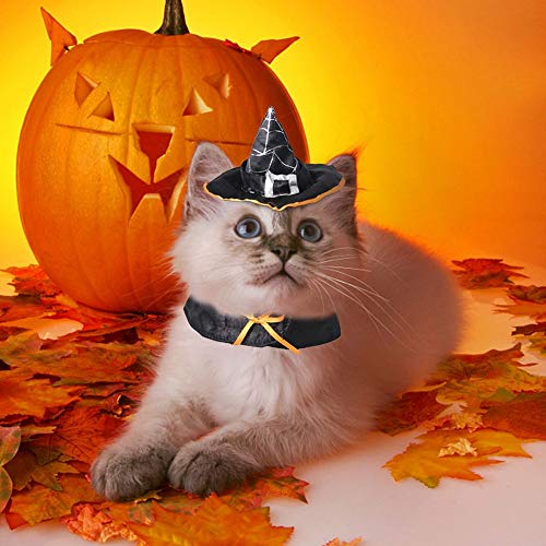 Stock Show Pet Halloween Wizard Hat, Black Witch Cap Party Costume Headwear Cosplay Accessories for Cats/Kitty/Small Dogs 1