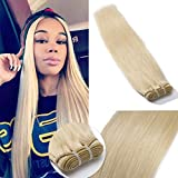 60 Virgin Hair Bundles 7A Sew in Blonde Bundle 100% Unprocessed Brazilian Human Hair Weft Weave Extensions Thick Silky Straight One Bundle for Women 16 Inch Platinum Blonde