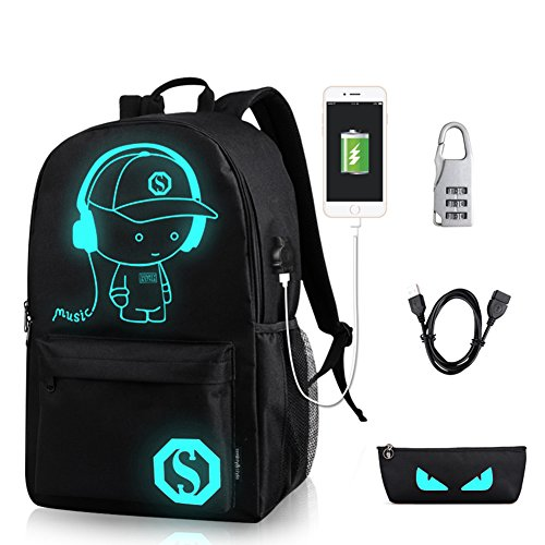 7a168cc1a1 GAOAG Anime Luminous Backpack Daypack Shoulder School Bag Laptop Bag ...