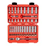 TEKTON 3/8 Inch Drive 12-Point Socket & Ratchet Set, 47-Piece (5/16-3/4 inch, 8-19 mm) | SKT15302