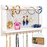 ASHLEYRIVER Wall Mounted White Wood Jewelry Organizer Holder with Hooks Shelf for Hanging Earrings Necklaces Bracelets Other Accessories-White
