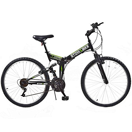 Stowabike 26' MTB V2 Folding Dual Suspension 18 Speed Shimano Gears Mountain Bike Black