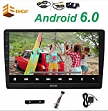 Wireless HD Waterproof Rearview Camera + HD Quad Core A9 1.6GHZ CPU RAM 2GB 10.1 inch Multi-Angle Rotation, Android 6.0 Double din car Radio Player no DVD Player Support FM Bluetooth,Offline GPS map