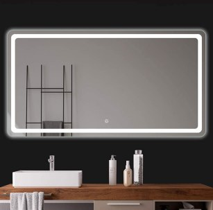 Bathroom Illuminated Mirror with Demister and Shaver Socket