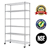 6 Tier Wire Shelving Rack,Steel Shelf 48' W x 18' D x 82' H Adjustable Storage System With Casters/Wheels And Feet Levelers,Garage Shelving Unit, Storage Shelving Rack,Kitchen/Office Rack (Chrome)