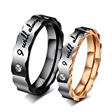 ColorGift Couples Stainless Steel Ring I Will Always Be With You Promise Ring