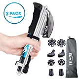 Koviti Trekking Poles Collapsible Hiking Poles - 2pc Pack Auminum Alloy 7075 Walking Stick,Adjustable Quick Lock,Antishock Lightweight Folding Poles with 8 Season Accessories for Hiking,Camping(Blue)
