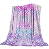 T&H Home Artistic Blanket, Ombre Beauty Mermaid Fish Scale Soft Flannel Fleece Bedding Blanket for Couch, Throw Blanket for Cover Men Women Aults Kids Girls Boys 60'x80'
