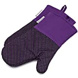 Silicone Oven Mitts 464 F Heat Resistant Potholders Dot Printed Cooking Gloves Non-Slip Grip for Kitchen Oven BBQ Grill Cooking Baking 1 pair 13 Inch (Purple) LA Sweet Home