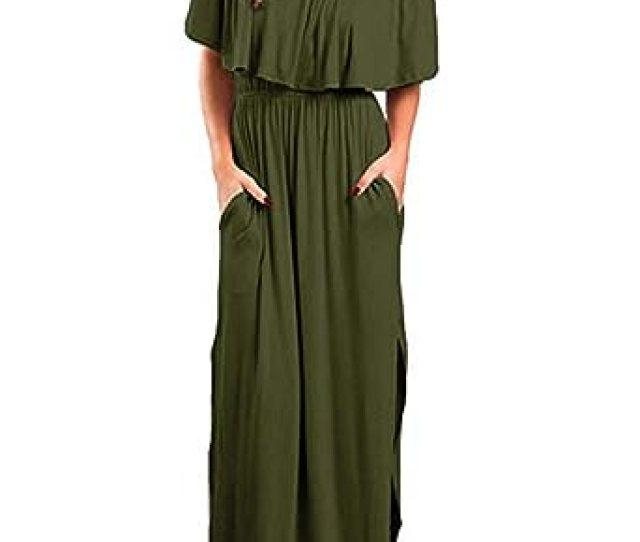 4df0b29693 Kidsform Women Floral Maxi Dress Short Sleeve Off Shoulders Ruffles Side  Split Long Dress With Pockets