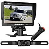 Emmako Backup Camera and 7'' Monitor Kit For Car/RV/Pickup Truck/Trailer/Camper IP68 Waterproof Night Vision Rear/Side/Front View System Guide Lines On/Off Optional Reversing/Driving Use