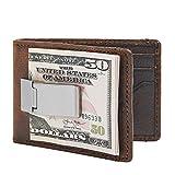 HOJ Co. Deacon ID BIFOLD Front Pocket Wallet-Full Grain Leather-Bifold Money Clip Wallet-Exterior Money Clip (Brown Natural Grain)