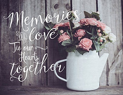 Light Box Insert - Flowers - Memories and Love Tie Our Hearts Together - Light Box Sold Separately