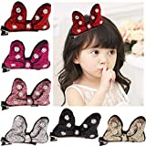Cute Glitter Sequins Minnie Bows Mouse Ears Bunny Hiar Bows Alligator Clips for Baby Girls Toddlers Costumn Pack of 6