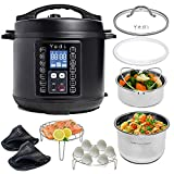 Yedi 9-in-1 Total Package Instant Programmable Pressure Cooker, Slow Cooker, Rice Cooker, Yogurt, Sauté, Steamer. Deluxe Accessory Kit, Recipe Book, Cheat Sheets, 2-Year Warranty, 6 Quart, Black.