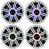 2- Pair (4-Speakers) Multi Color LED Lights Kicker 6.5' 195W Marine Audio Coaxial Stereo White Grills