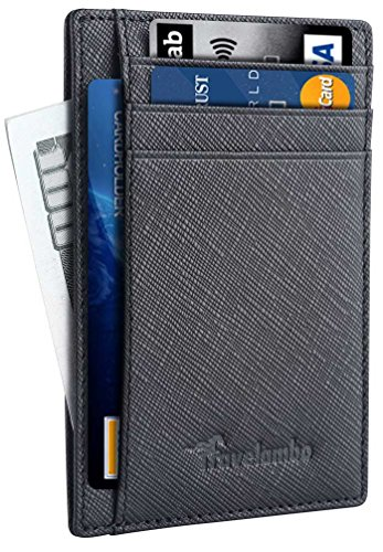 Travelambo Front Pocket Minimalist Leather Slim Wallet RFID Blocking Medium Size(crosshatch black)
