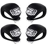 Malker Bicycle Light Front and Rear Silicone LED Bike Light Set - Bike Headlight and Taillight,Waterproof & Safety Road,Mountain Bike Lights,Batteries Included,4 Pack (4pcs Black)
