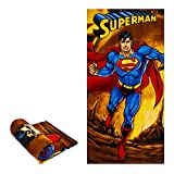 "JPI Beach Towel - Superman Fiery - Beach Towel Oversized 60"" x 30"" - Use as Luxury Bath Towel, Yoga Towel, Travel Towel, Camping Towel, Gym Towel, Pool Towels, on Beach Cart & Beach Chairs"