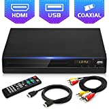 Jinhoo DVD Player for TV, All Region Free DVD CD Disc Player with HDMI & AV Output (HDMI & AV Cable Included), HD1080P Supported, Built-in PAL/ NTSC System, Coaxial Port, USB Input and Remote Control